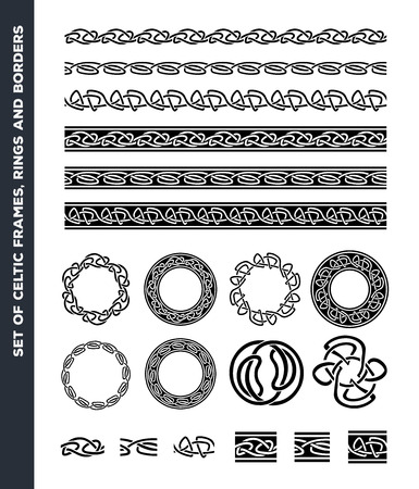 symbols: Illustration of a set of black and white celtic seamless lines, borders, rings and ornaments, for frame and tattoos, with separated patterns detail Illustration