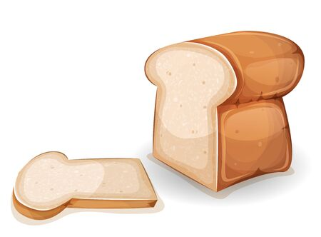 Illustration of a cartoon bread with one slice cut