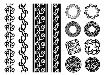 pattern antique: Illustration of a set of black and white celtic seamless lines, borders, rings and ornaments, for frame and tattoos, with separated patterns detail Illustration