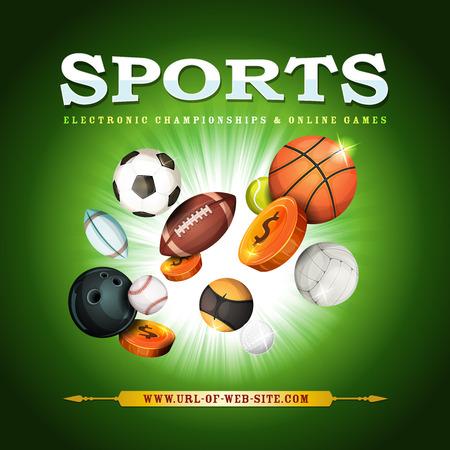 balon de voley: Ilustración de una bandera de los deportes con pelotas populares clásicos y equipos cuencos, para fútbol, ??fútbol, ??rugby, tenis, y otra en el fondo llamativo verde