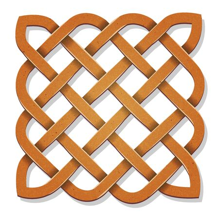 Illustration of a design square with celtic knots and grunge wood texture Illustration