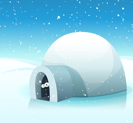 Illustration of a cartoon snowy winter landscape, with north pole igloo and funny character's eyes inside