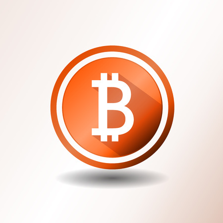 b: Illustration of a flat design bitcoin icon on orange and grey background