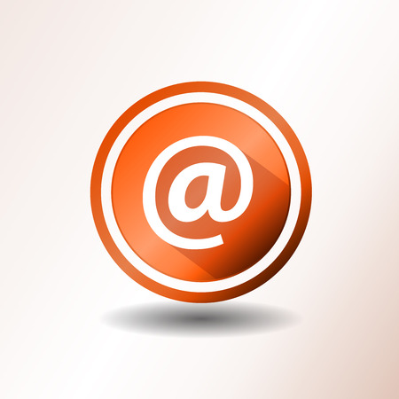 arobase: Illustration of a flat design contact email icon on orange and grey background