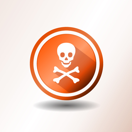 hazard sign: Illustration of a flat design warning icon, with skull head and cross bones on orange and grey background