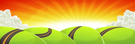 green hills: Illustration of a cartoon wide scene, with road traveling inside green hills landscape in the sunshine