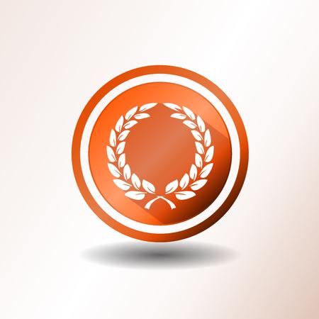 selected: Illustration of an orange badge with award laurel wreath, in flat design Illustration