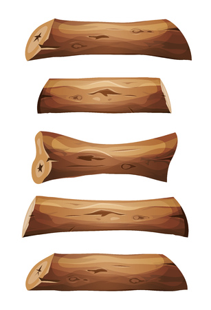 Illustration of a set of cartoon wood logs, planks, and sawn trunks