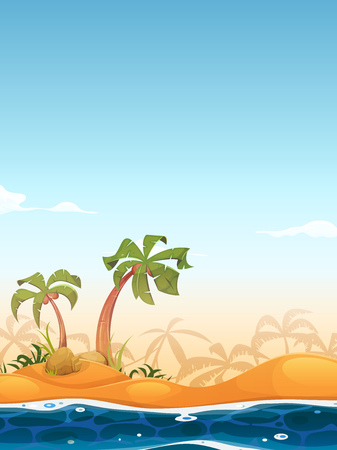 summer trees: Illustration of cartoon tropical beach or island, with palm trees, sand and flowing water in the foreground, and summer sky background