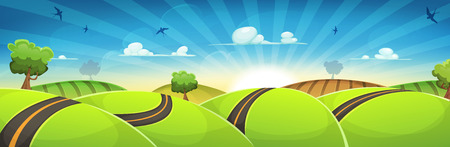green road: Illustration of a cartoon spring and nature wide scene, with road traveling inside green hills landscape in the sunrise