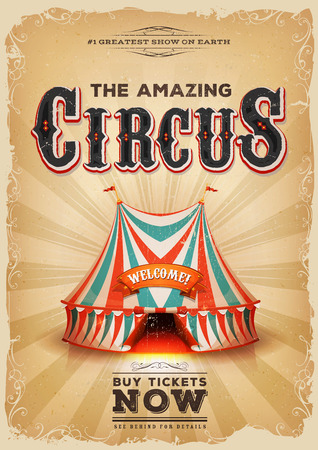 big top: Illustration of a retro and vintage circus poster background, with red and blue big top, elegant titles, grunge texture and floral patterns