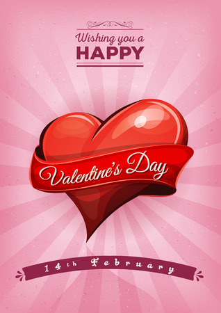 saint valentine: Illustration of a grunge and retro happy valentines day background, with wishes text, big heart and banner for february holidays Illustration