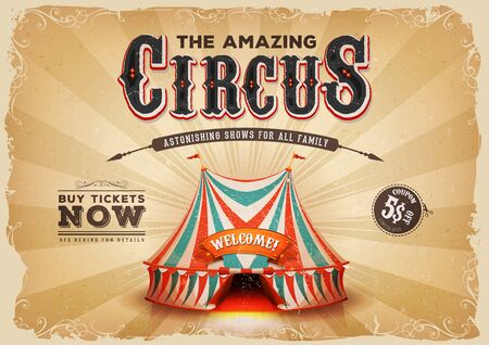 Illustration of a retro and vintage circus poster background, with red and blue big top, elegant titles, grunge texture and floral patterns