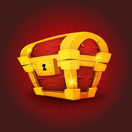 wood crate: Illustration of a cartoon closed treasure chest, made with gold and wood, with lock and bright effect, on red background for award icons inside game ui