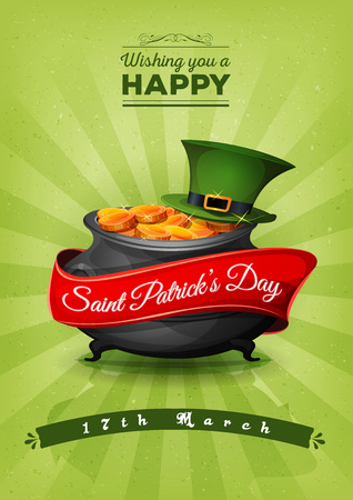 Illustration of a happy st. patricks day background, with wishes text and banner, big cauldron, green pilgrim hat, golden coins and retro vintage style