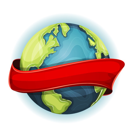 gaia: Illustration of a cartoon design earth planet globe icon, with red ribbon spinning around
