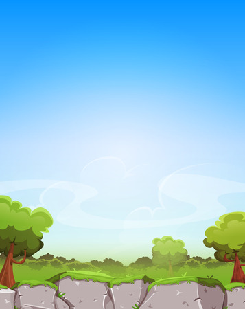vegetation: Illustration of a cartoon spring landscape with cliff, trees and vegetation on a blue horizon, with big sky area for text