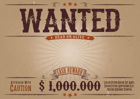 Illustrazione di un'annata elegante orizzontale vecchio voleva modello di manifesto, con iscrizione vivo o morto, il denaro ricompensa in denaro, come nei film western Vettoriali