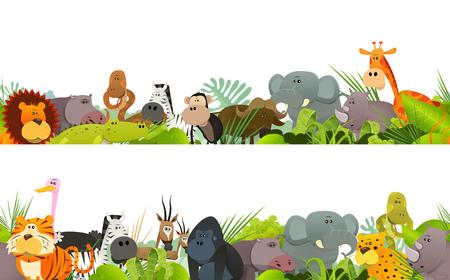 Illustration eines nahtlosen Frieses mit netten verschiedenen Karikaturwildtieren von der afrikanischen Savanne, einschließlich Löwe, Gorilla, Elefanten, Giraffe, Gazelle und Zebra für Schlafzimmer tapeziert und drucken Merchandising Vektorgrafik