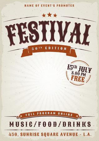 Illustrazione di un elegante modello di poster festival di musica antica d'epoca, con stile occidentale e grunge