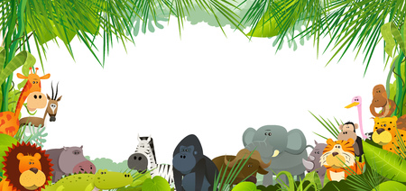 Illustration of a postcard background with cartoon wild animals from african savannah