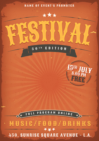 Illustration of a vintage old elegant music festival poster template, yellow and red colored with western style and grunge texture Illustration