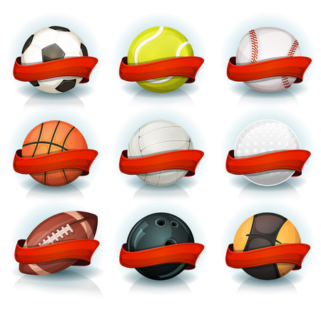 balon de voley: Illustration of a set of classic popular sports balls and bowls equipment, for football, soccer, rugby, tennis, volleyball, with red banners for teams and clubs emblems