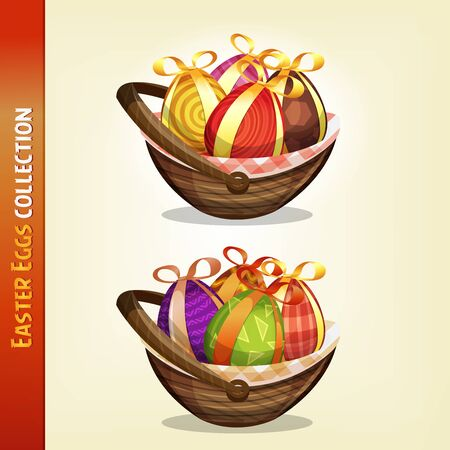 Illustration of a set of cartoon appetizing decorated easter eggs, for spring april and march season holidays Illustration