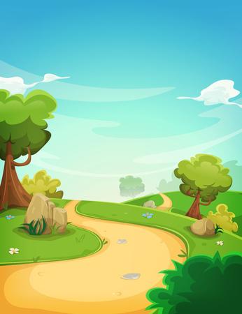 Illustratie van een cartoon lente of zomer seizoen landschap met landweg, groene velden, bomen en vegetatie op een blauwe horizon