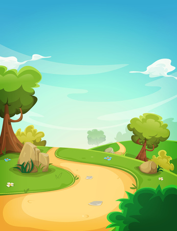 green fields: Illustration of a cartoon spring or summer season landscape with country road, green fields, trees and vegetation on a blue horizon