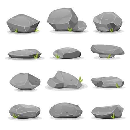구분 된 만화 바위, 바위와 자연 경관과 게임 ui 경관 작성을위한 잔디의 블레이드와 함께 다양 한 모양의 돌 집합의 그림