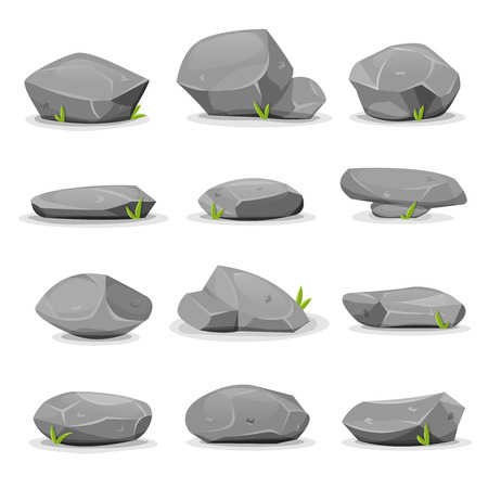 Illustration of a set of separated cartoon boulders, rocks and stones of various shapes, with blades of grass, for filling nature landscapes and game ui scenics