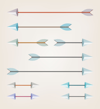 Illustration of a set of various arrows for bow sport, easily scalable and with various tints
