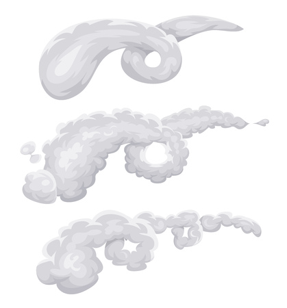flaw: Illustration of a set of cartoon clouds, with smoke swirling spiral and wind with vortex effect