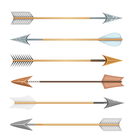 deadly: Illustration of a set of cartoon arrows, in different styles for sports and hunt