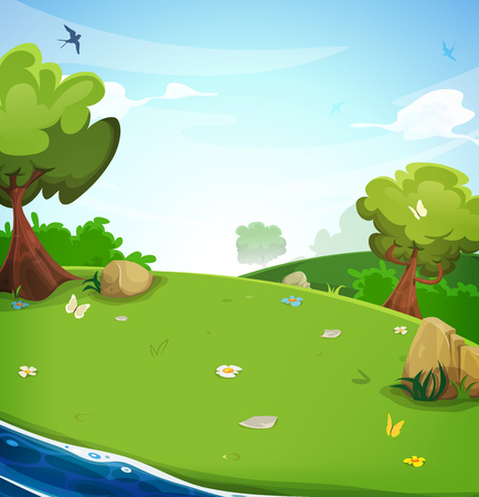 Illustration of a cartoon spring or summer season landscape with blue river