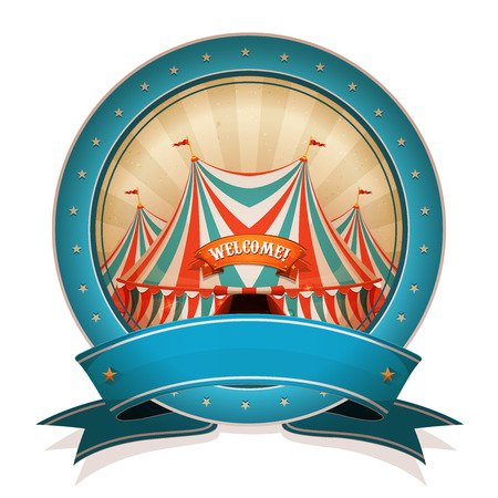 festive background: Illustration of a retro and vintage circus poster badge, with marquee, red and blue big top, for arts festival events and entertainment background