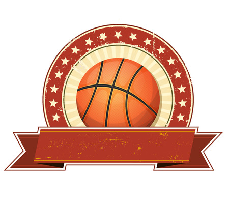 star: Illustration of a basketball sport banner, with grunge and vintage design