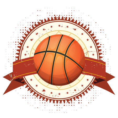 ribbon: Illustration of a basketball sport banner, with grunge and vintage design