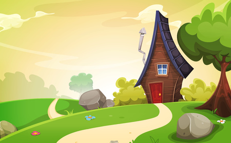 Illustration of a cartoon spring or summer season landscape with country road leading to a fairy little house Illustration