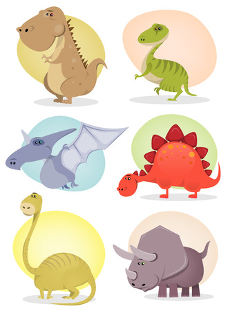 Illustration of a set of cartoon tiny dinosaurs animals, with cute tyrannosaurus, velociraptor, triceratops, diplodocus, pterodactyl and stegosaurus