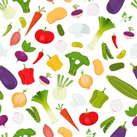 Ilustración de un patrón transparente de hortalizas de dibujos animados de primavera, con diversos condimentos e ingredientes para recetas de alimentos