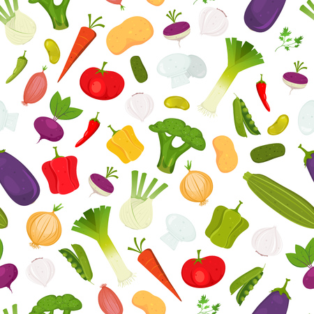 Illustration of a seamless pattern of cartoon spring vegetables, with various condiments and ingredients for food recipes