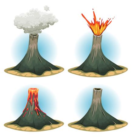 Illustratie van een reeks cartoon vulkaan bergen, met verschillende toestanden van uitbarsting, rook en lava