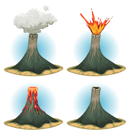 Illustration of a set of cartoon volcano mountains, with different states of eruption, smoke and lava