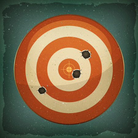 Illustration of a grunge red and white dart targets with bullets shot