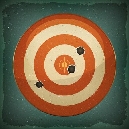 Ilustración de un grunge dardos blancos y rojos con disparos de balas Foto de archivo - 76945780