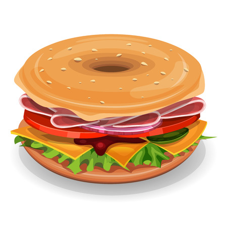 Illustration of an appetizing cartoon fast food american bagel, with ham, tomatoes, onions, salad leaves and cheese