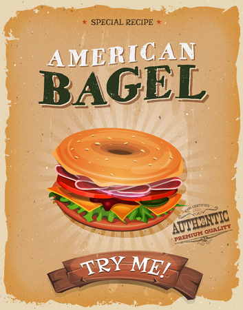 Illustration of a design vintage and grunge textured poster, with bagel sandwich, for fast food snack and takeaway menu Illustration