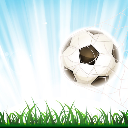 Illustration of a soccer ball in goal, symbolizing success and victory, with net and grass leaves on flashy light background